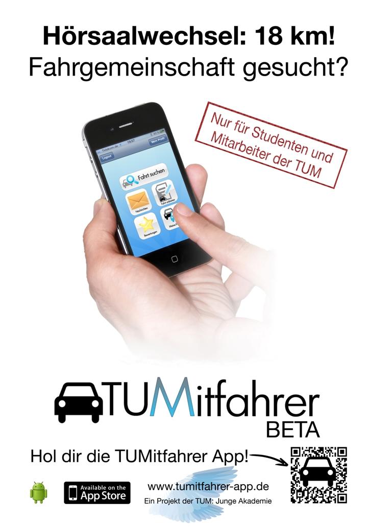 Werbeplakat für TUMitfahrer (Grafik: TUM, Junge Akademie)