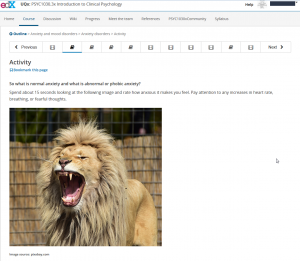 Screenshot edX Activity, Kurs Clinical Psychology (University of Queensland)