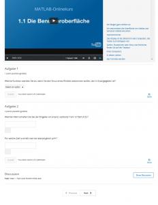 Screenshot edX: Beispiel für ein benotetes Quiz, Kurs Einführung in MATLAB (TUM)