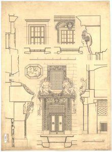 Skizzenpapier des Fassadenentwurfs von Friedrich von Thiersch aus dem Historischen Architekturmuseum München.