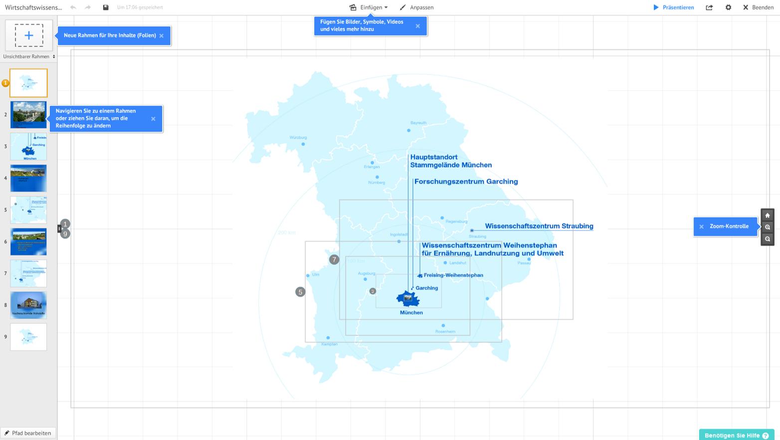 Prezi-Oberfläche mit Beispiel (Quelle: Screenshot)