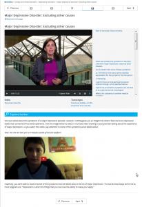 Screenshot edX Lehrvideo und Video aus Sicht einer betroffenen Person, Kurs Clinical Psychology (University of Queensland)