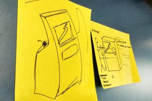 Post-its mit Visualisierungen des Prototypen