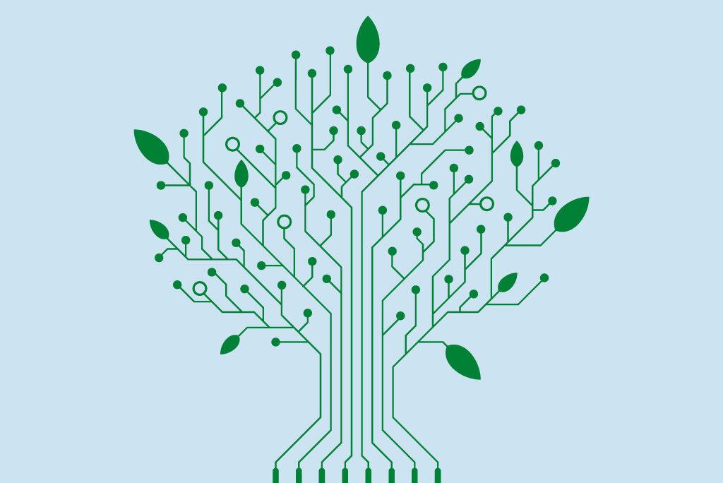 Als Baum gestaltete Leiterplatte als Symbol für die Verknüpfung von Nachhaltigkeit und Digitalisierung
